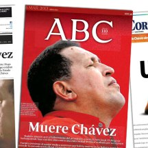 El Universal (Ven.), uno de los más sobrios. ABC (Esp.), con una foto bastante expresiva de Chávez. Correio Braziliense, una de las portadas más creativas.