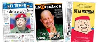 El Tiempo de Bogotá merece una mención especial. Sobresalió por su edición extra que circuló ayer mismo. La República de Uruguay con una portada muy emotiva, fue el único diario que citó una frase de Chávez. Mientras que Página 12 de Argentina fue el único que utilizó una caricatura.