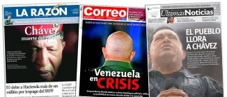 La Razón, una de las mejores propuestas gráficas en España. Correo de Lima y un ángulo distinto. Últimas Noticias de Caracas se lució con la imagen de Chávez bajo la lluvia y con un excelente titular.