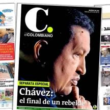 El Tiempo de Honduras utiliza el recurso de la sombra. El Colombiano y una buena puesta en escena. La curiosidad, el diario Al Akhbar de Egipto que le dedica toda la primera plana a Chávez.